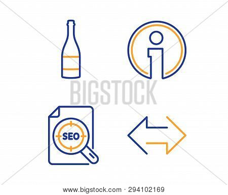 Seo File, Champagne Bottle And Info Icons Simple Set. Sync Sign. Search Document, Anniversary Alcoho