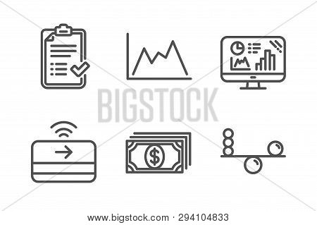 Payment, Approved Checklist And Analytics Graph Icons Simple Set. Contactless Payment, Diagram And B