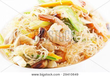 cellophane noodles stir-fried with shrimps and vegetables poster
