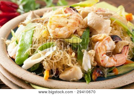 Glass noodles with shrimps and vegetable poster