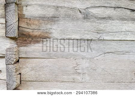 Old White Oak Wood For Background Or Old Grey Wooden Texture. Wooden Beams. Surface Eroded By Time.