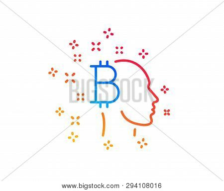 Bitcoin Think Line Icon. Cryptocurrency Head Sign. Crypto Money Symbol. Gradient Design Elements. Li