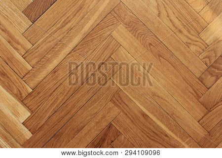 Parquet Floor Wooden Pattern Background Of Old Timber Hardwood Texture In Apartment Living Room. Hom