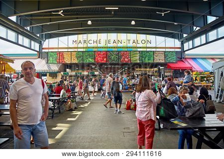 Montreal, Quebec, Canada September 29, 2018: Jean-talon Market Interior On In Montreal, Canada. Mont