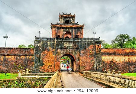 Ngan Gate To The Imperial City In Hue. Unesco World Heritage In Vietnam