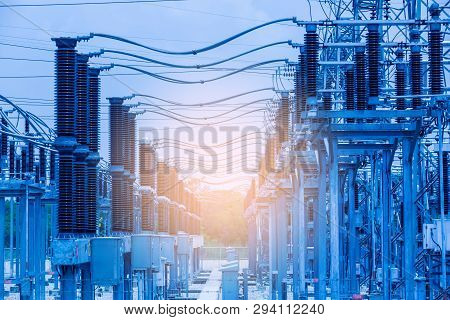 Electric Power Transmission Lines, High Voltage Power Transformer Substation