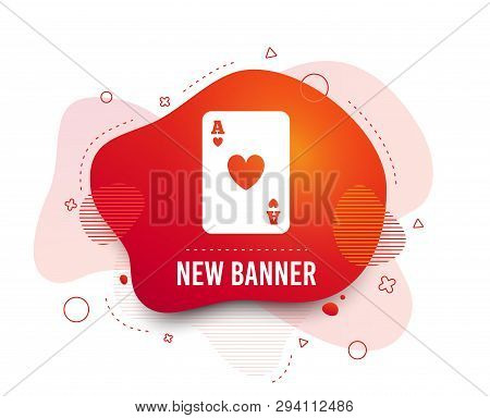 Fluid Badge. Casino Sign Icon. Playing Card Symbol. Ace Of Hearts. Abstract Shape. Gradient Playing