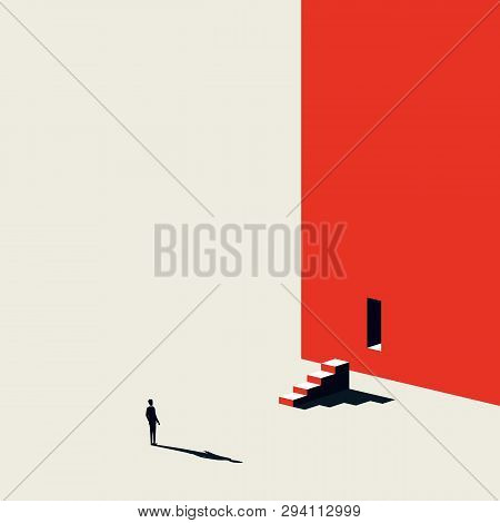Business Creative Solution Finding Vector Concept With Businessman Looking Steps And Door In Wall. M