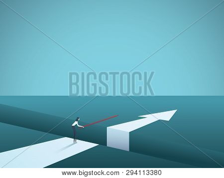 Business Finding Solution Vector Concept With Woman Building Bridge. Symbol Of Creativity, Technolog