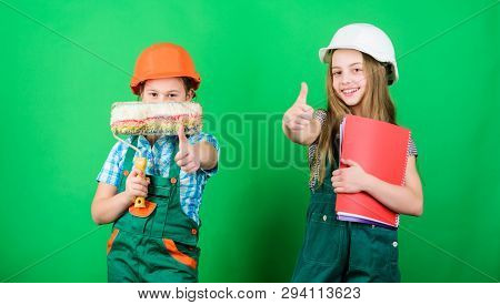 Kids girls planning renovation. Initiative children provide renovation their room green background. Amateur renovation. Dreaming about new playroom. Home improvement activities. Future profession poster