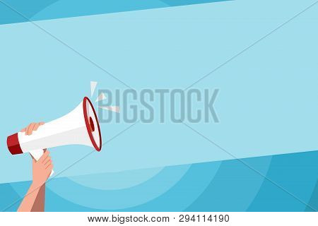Human Hand Holding Tightly the Megaphone with Volume Icon. Blank Word Space for Announcement and Promotions. Loudhailer Grasp by Person with Sound and Empty Room for Text Graphics. poster