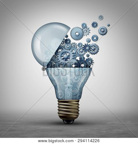 Creative Technology Concept And Communication Ideas As An Open Door Light Bulb Tranfering Gears And