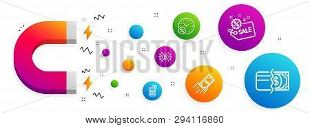 Magnet Attracting. Fast Payment, Sale And Loan Percent Icons Simple Set. Calculator, Bitcoin System