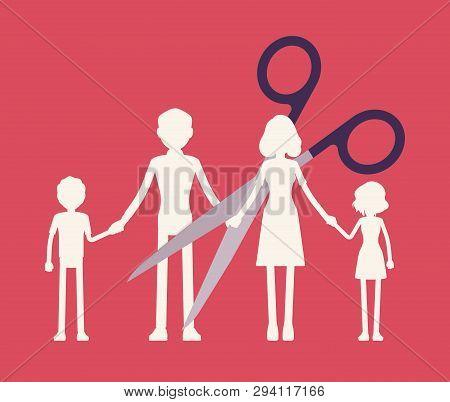 Family Members Paper Garland Chain Cut. Scissors Divide, Separate Parents And Children Unit, Dissolu