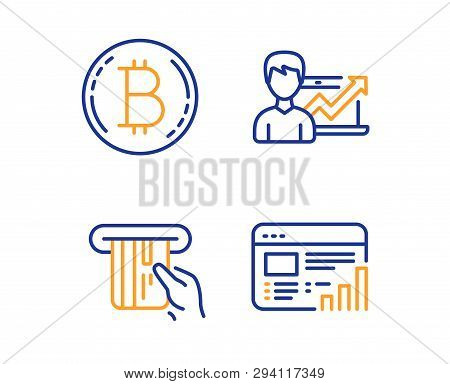 Bitcoin, Credit Card And Success Business Icons Simple Set. Web Report Sign. Cryptocurrency Coin, At