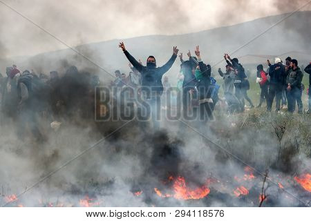 Migrants Clashes With Greek Riot Police Outside Of A Refugee Camp In Diavata