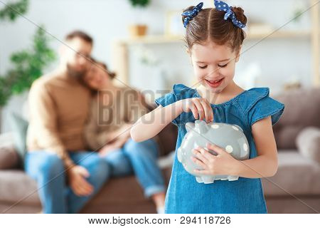 Family Savings, Budget Planning, Children's Pocket Money. Family With Piggy Bank