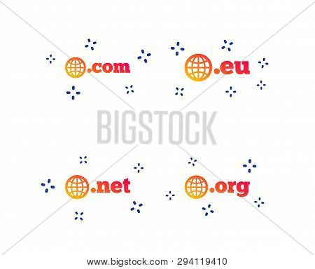 Top-level Internet Domain Icons. Com, Eu, Net And Org Symbols With Globe. Unique Dns Names. Random D