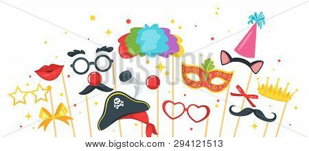 Cartoon Style Photo Props Horizontal  Banner Template Design. Photobooth Vector Set Of Elements For