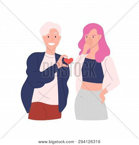 Annoying And Intrusive Admirer Trying To Present His Heart To Woman Refusing To Take It Isolated On