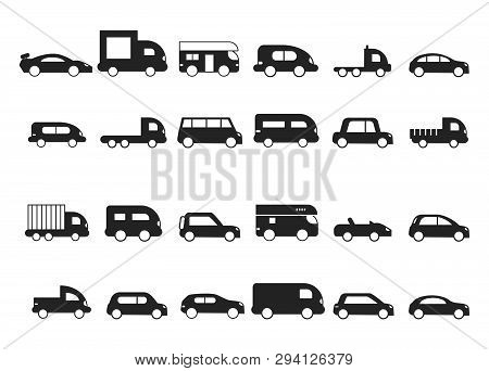 Car Icons. Pictograms Of Black Transport Truck Suv Minivan Vector Silhouettes Isolated. Hatchback Ca