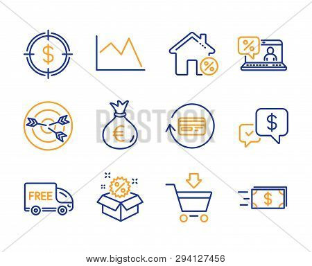 Sale, Dollar Target And Loan House Icons Simple Set. Money Bag, Online Market And Online Loan Signs.