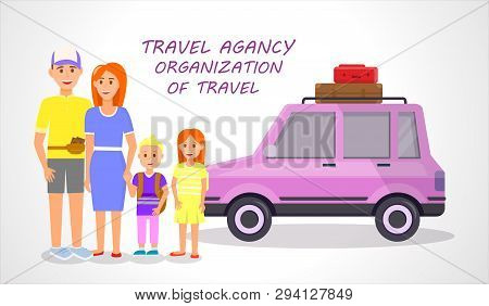 Travel Agency. Organization Of Travel Horizontal Banner. Couple And Little Children Traveling Isolat
