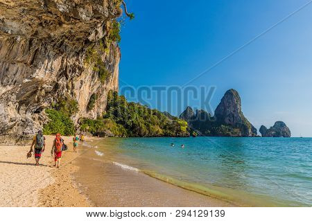 February 2019. Railay Beach Krabi Thailand. A View Of Tonsai Beach At Railay Beach In Krabi Thailand