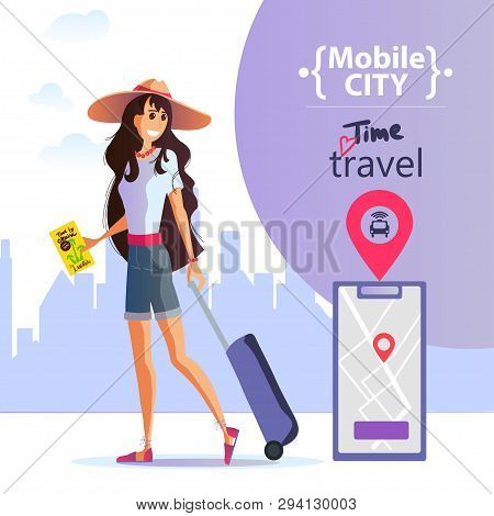 Young Girl With A Suitcase And A Smartphone In Her Hand Travels Around The City. Mobile City, Safe C