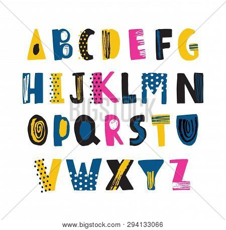 Cute Childish Latin Font Or Funky English Alphabet Decorated With Dots And Scribble. Colorful Textur