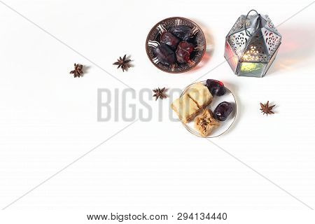 Ramadan Kareem Greeting Card, Invitation. Bronze Plate With Dates Fruit, Baklava Pastry, Burning Lan