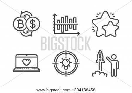 Bitcoin Exchange, Star And Idea Icons Simple Set. Web Love, Diagram Chart And Launch Project Signs.