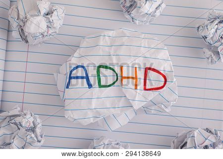 Adhd. Abbreviation Adhd On Crumpled Paper Ball. Close Up. Adhd Is Attention Deficit Hyperactivity Di