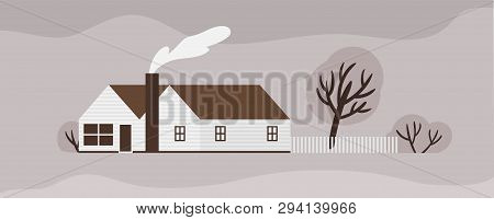 Facade Of Town House Or Cottage In Scandic Style. Wooden Scandinavian Building With Fence. Modern Su