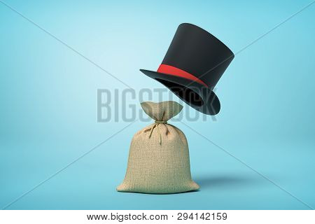 3d Rendering Of Light-brown Canvas Money Sack And Big Black Tophat Floating In Air Above It On Light