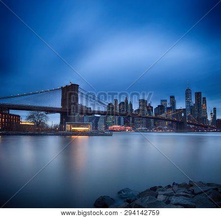 Brooklyn Bridge Taken From Brooklyn Bridge Park Against A Lower Manhattan