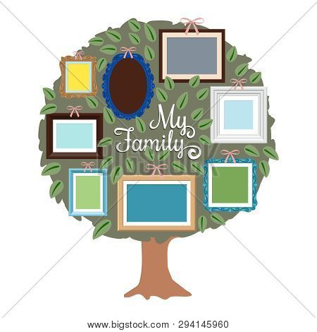 My Family Genealogy Tree With Retro Frames On The Foliage. Generation Tree With Place For Photo Illu