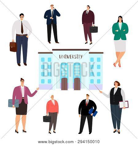 University Education Vector Concept. People Of Different Professions, University Graduates Isolated