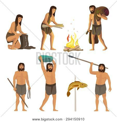 Stone Age People Isolated On White Background. Ancient, Primitive Men And Women With Tools And Fire.