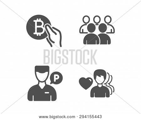 Set Of Bitcoin Pay, Group And Valet Servant Icons. Man Love Sign. Cryptocurrency Coin, Developers, P