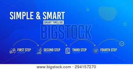 Infographic timeline. Checklist, Idea and Stats icons simple set. Heartbeat sign. Graph report, Solution, Business analysis. Medical heart. Science set. 4 steps layout. Line checklist icon. Vector poster