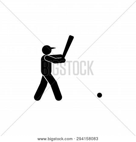 Baseball Man Hit Glyph Icon. Element Of Baseball Sport Illustration Icon. Signs And Symbols Can Be U