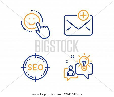 Seo, Smile And New Mail Icons Simple Set. Idea Sign. Search Target, Positive Feedback, Add E-mail. S