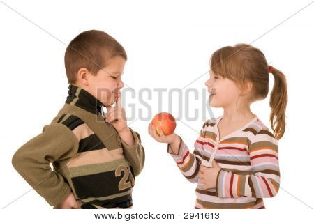 Two Children And An Apple