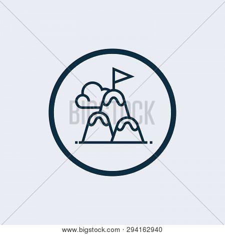 Mountain Peak Flag Icon. Outline Mountain Peak Flag Icon For Web Design Isolated On White Background
