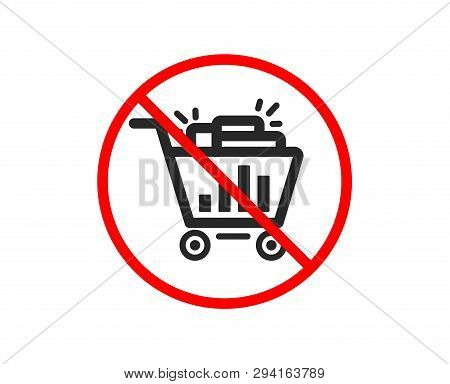 No Or Stop. Seo Shopping Cart Icon. Search Engine Optimization Sign. Analytics Symbol. Prohibited Ba