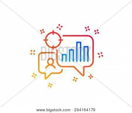 Seo Statistics Line Icon. Search Engine Optimization Sign. Analytics Chart Symbol. Gradient Design E