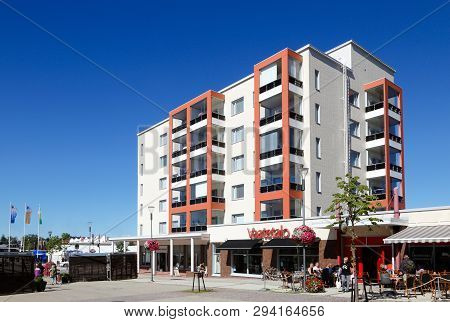 Kemi, Finland - July 20, 2016: Modern Multistorey Apartment Building Located In The City Center.