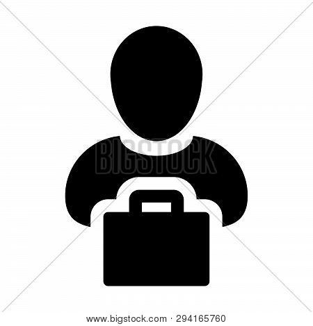 Shopping Bag Icon Vector Male Person Profile Avatar With Retail Symbol For Business And Commerce In
