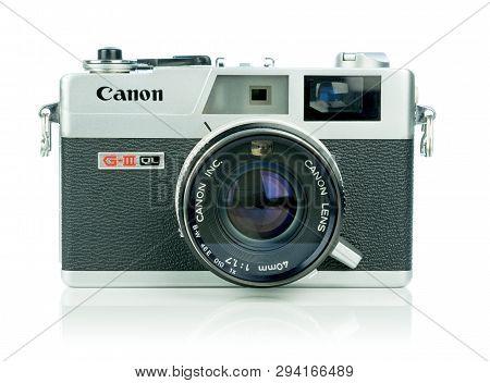 Niedersachsen, Germany April 8, 2019: A Canon Canonet 17 G-iii Ql Retro Rangefinder 35mm Analog Film